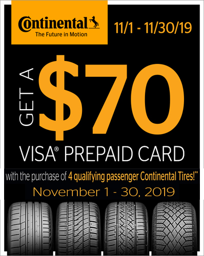$70 VISA Gift Card Continental Promotion