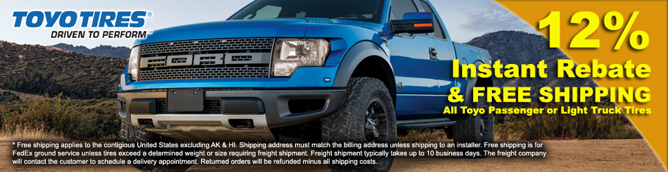 12% off and Free Shipping on Toyo Tires
