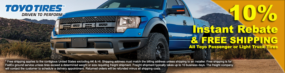 10% off and Free Shipping on Toyo Tires